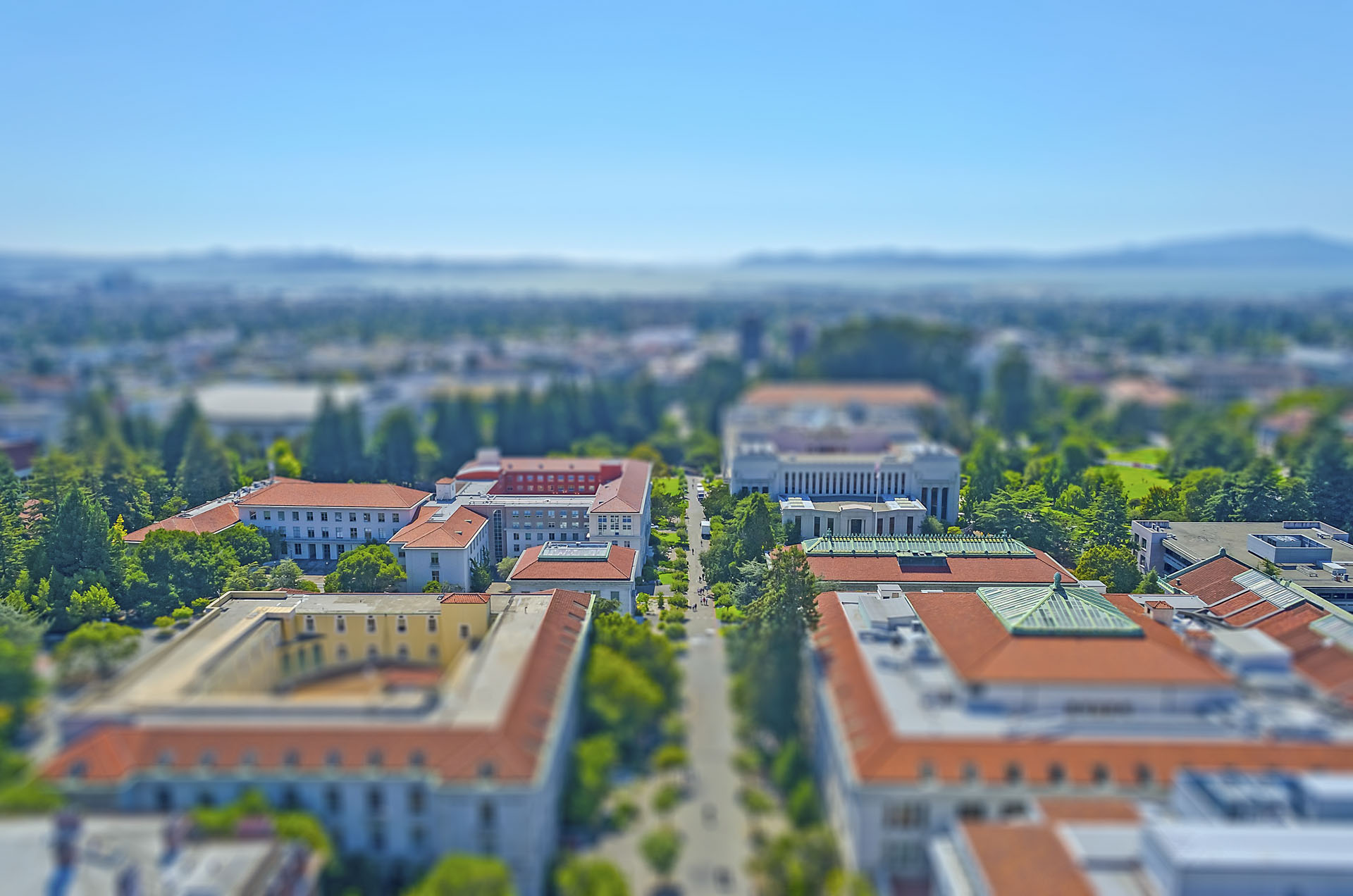 Aerial view of Berkeley University Campus and San Francisco Bay, USA