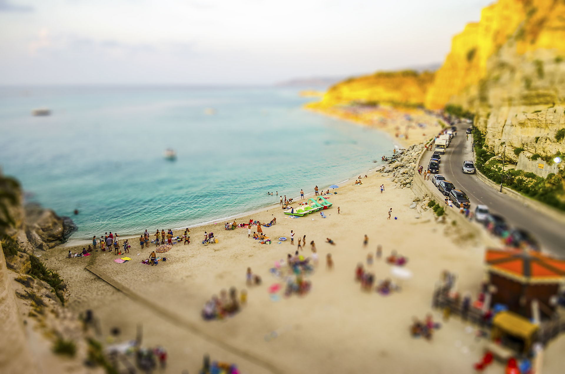 Aerial view of beach in Tropea, Italy. Tilt-shift effect applied
