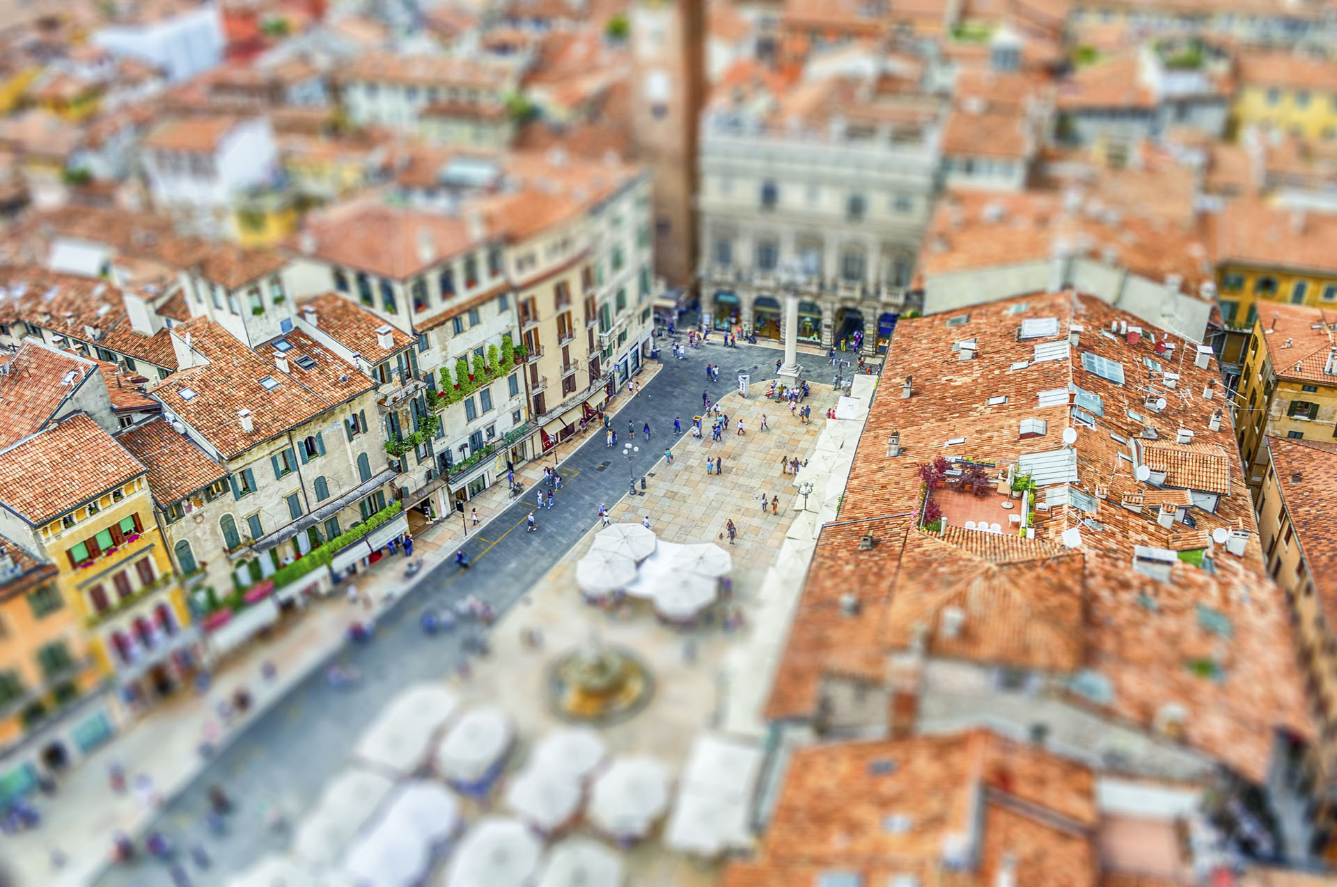 View over Piazza delle Erbe, Verona, Italy. Tilt-shift effect applied