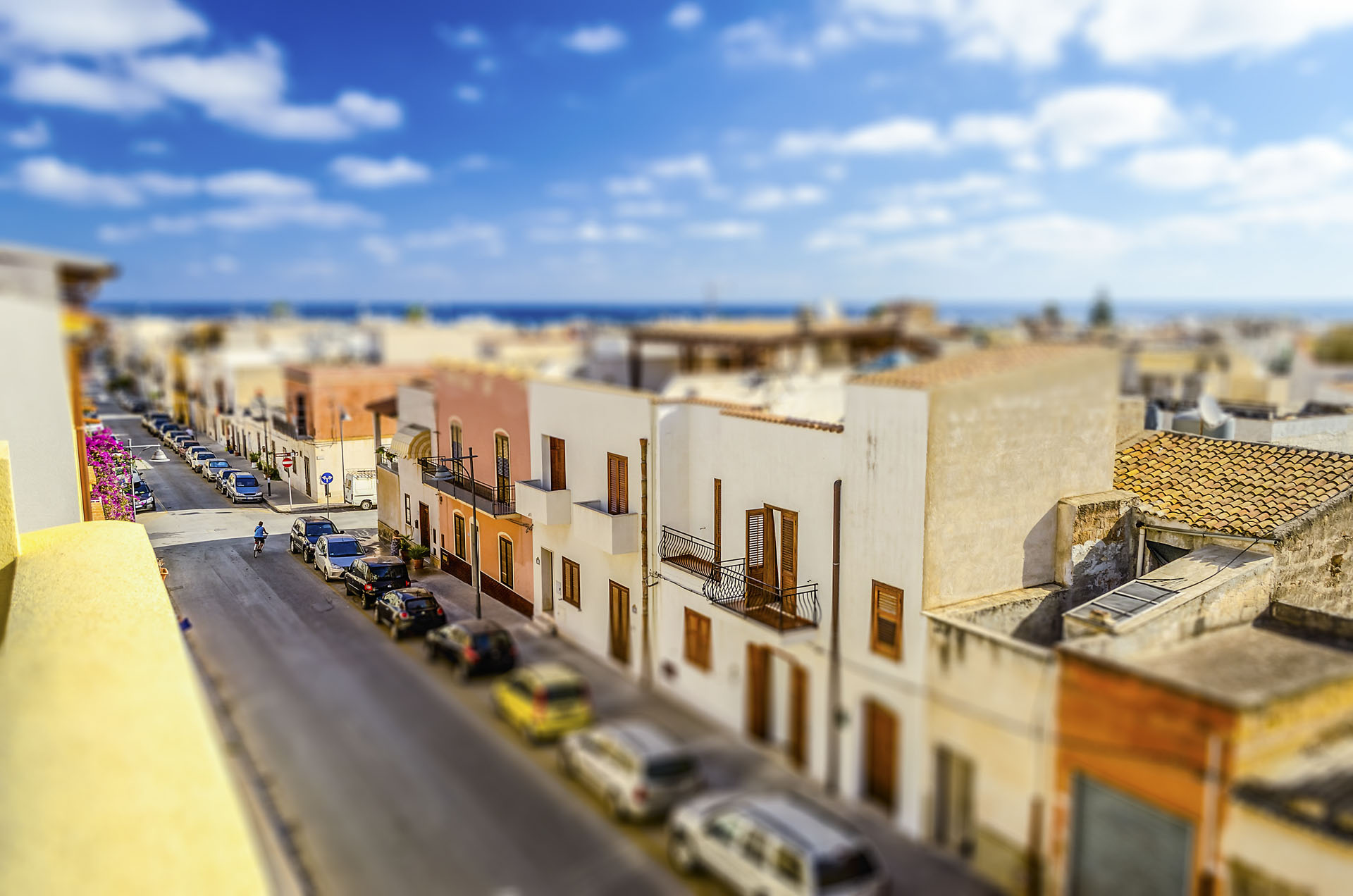 Aerial view, San Vito Lo Capo, Italy. Tilt-shift effect applied