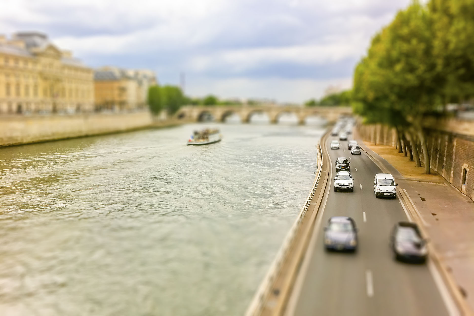 The Seine river in central Paris, France