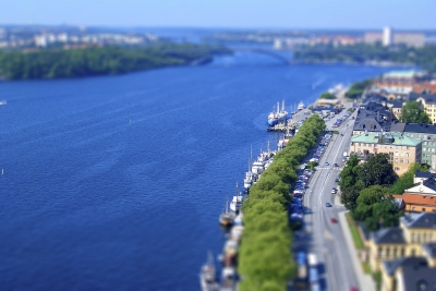 Panoramic view of Stockholm, Sweden. Tilt-shift effect applied