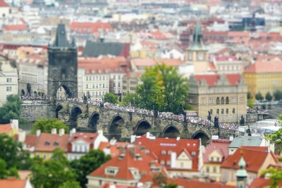 Aerial view of Prague and Charles Bridge, Czech Republic