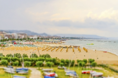 Waterfront of Pescara, Italy. Tilt-shift effect applied