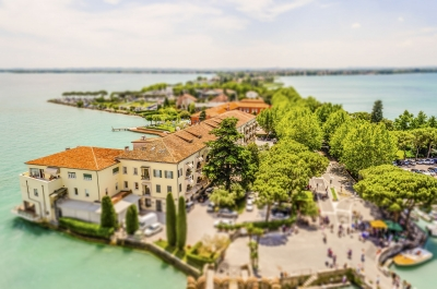 Aerial view of Sirmione, Italy. Tilt-shift effect applied