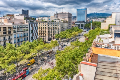 Passeig de Gracia, view from Casa Mila, Barcelona, Catalonia, Spain