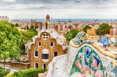 Scenic aerial view from Park Guell in Barcelona, Catalonia, Spain
