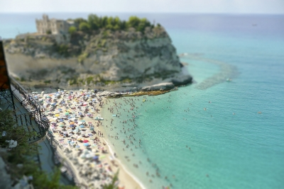 View over Isola Bella Beach, Tropea, Italy