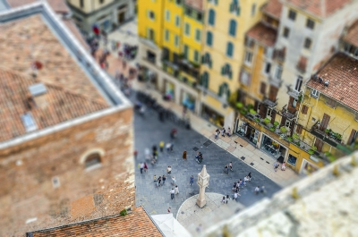 """View over Piazza delle Erbe, Verona, Italy. Tilt-shift effect applied - <a href=""""https://marcorubinophoto.com/product/view-over-piazza-delle-erbe-verona-italy-tilt-shift-effect-applied-2"""">BUY NOW</a>"""