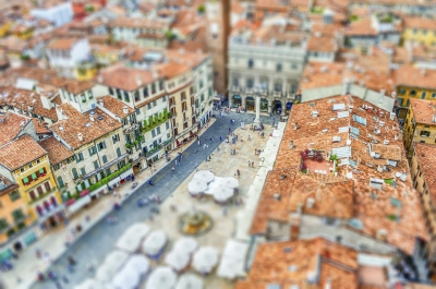 """View over Piazza delle Erbe, Verona, Italy. Tilt-shift effect applied - <a href=""""https://marcorubinophoto.com/product/view-over-piazza-delle-erbe-verona-italy-tilt-shift-effect-applied"""">BUY NOW</a>"""