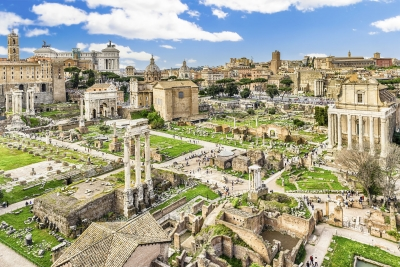 """Scenic view over the ruins of the Roman Forum in Rome, Italy - <a href=""""https://marcorubinophoto.com/product/scenic-view-over-the-ruins-of-the-roman-forum-italy-32"""">BUY NOW</a>"""