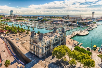 Aerial view of Port Vell, Barcelona, Catalonia, Spain