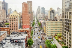 1st Avenue, New York City, USA. Tilt-shift effect applied