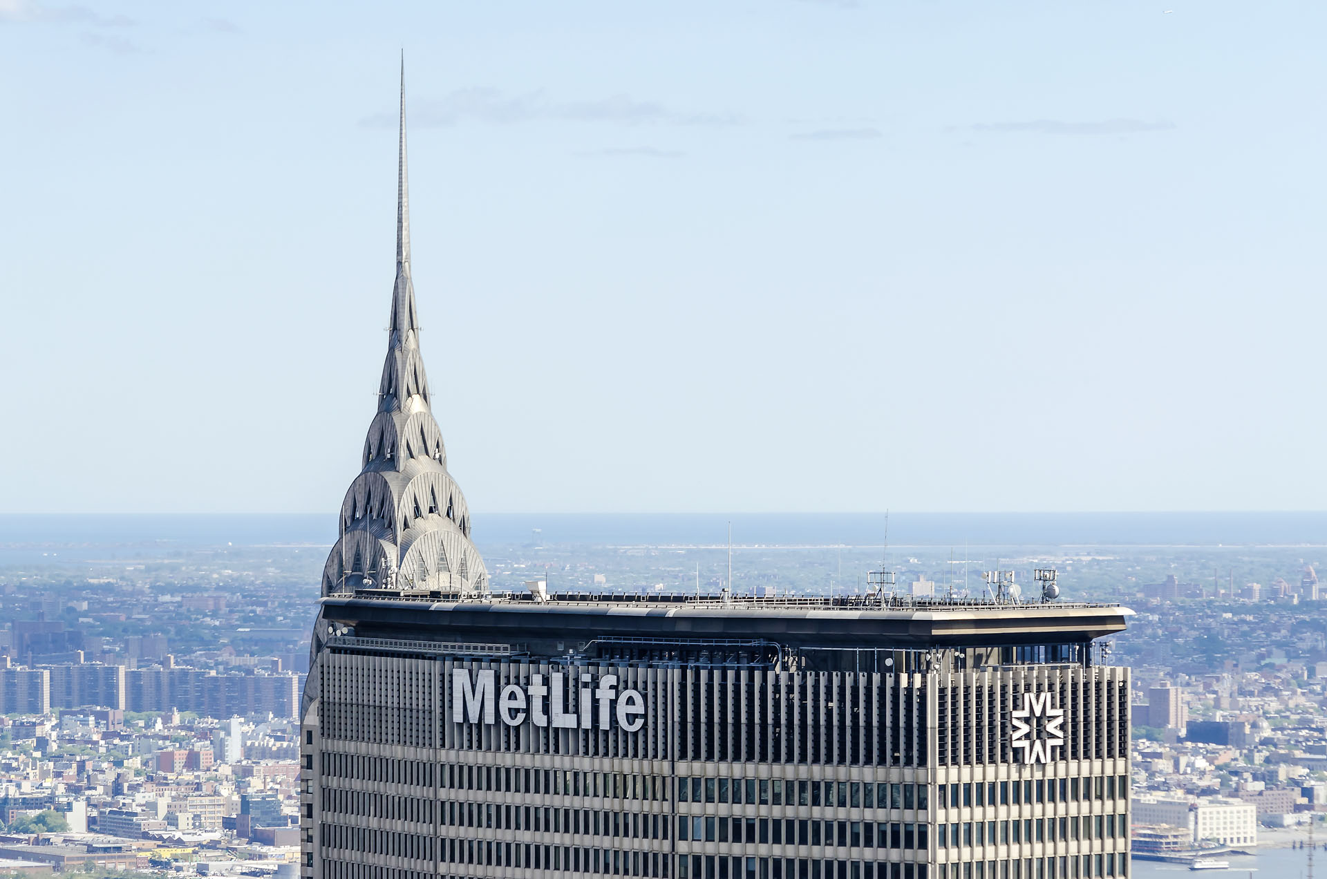 Aerial view of Chrysler and MetLife Buildings, New York, USA