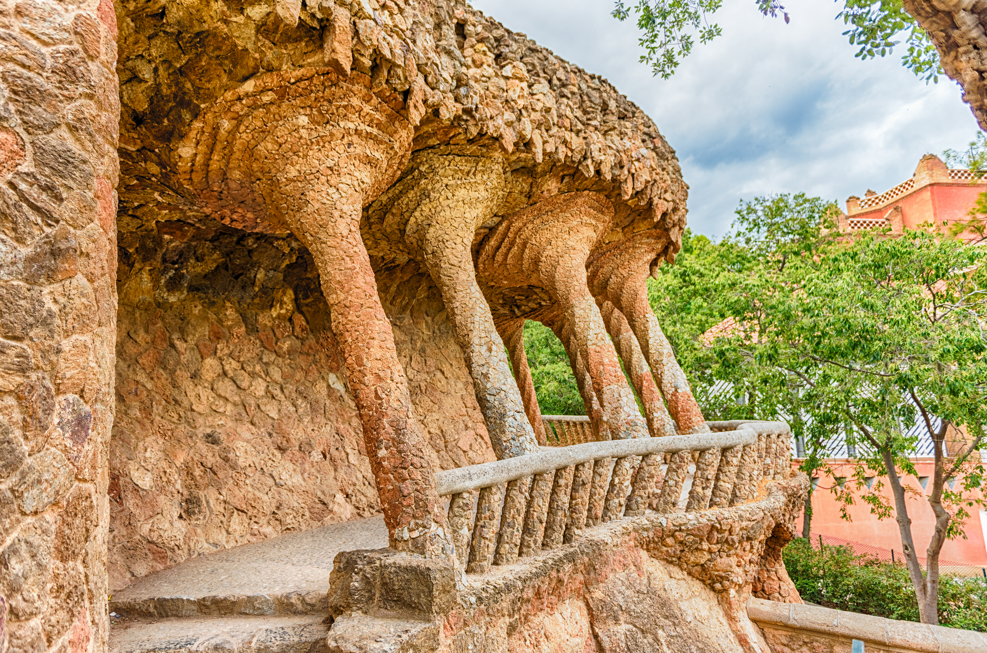 Colonnaded roadway viaduct in Park Guell, Barcelona, Catalonia, Spain
