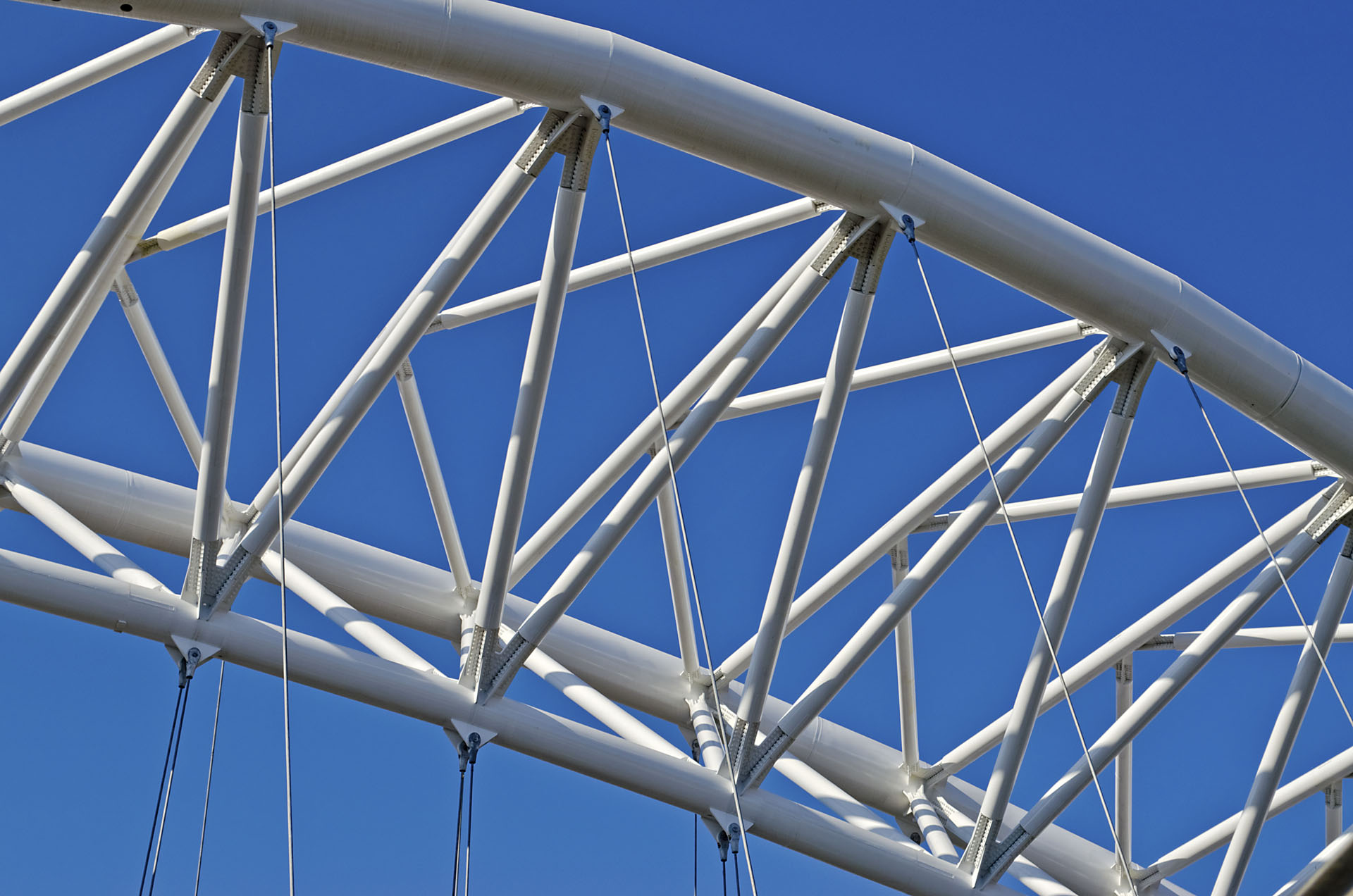 Detail of Garbatella Bridge, modern architecture in Rome, Italy