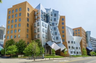 Iconic postmodern architecture of MIT Strata Center, Cambridge, USA