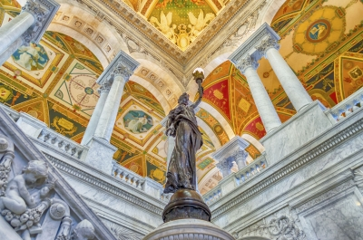 Main Hall inside the Library of Congress, Washington DC, USA