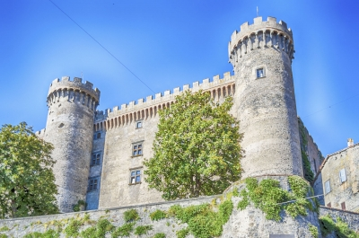 Bottom view of the Castello Orsini-Odescalchi in Bracciano, Italy