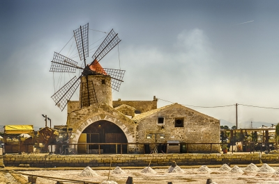 Old windmill for salt production, Sicily, Italy