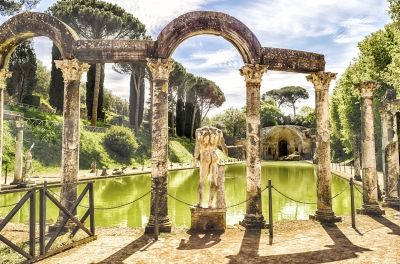 The Canopus, ancient pool in Villa Adriana, Tivoli, Italy