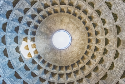 View inside the Pantheon's dome in Rome, Italy