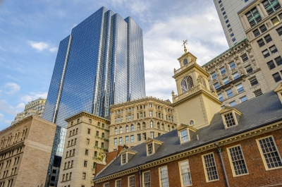 Mix of modern and ancient architecture in central Boston, USA
