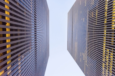 Bottom view of skyscrapers in Manhattan, New York, USA