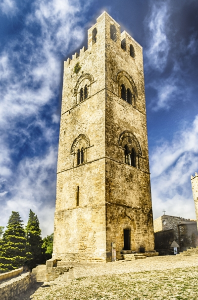 Bell tower of the Cathedral of Erice, Sicily, Italy