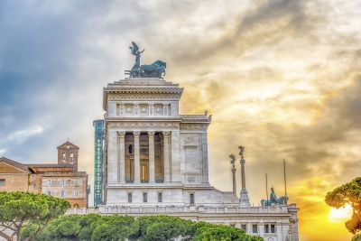 Altar of the Fatherland profile at sunset in Rome, Italy