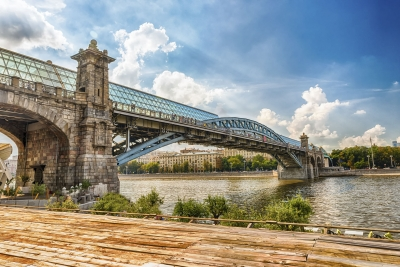 View over Pushkinsky Pedestrian Bridge in central Moscow, Russia