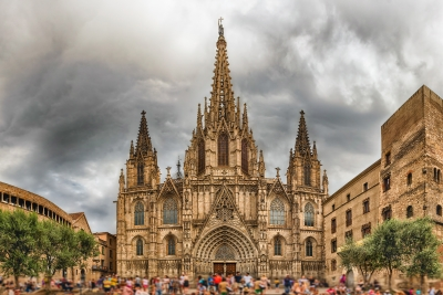 Panoramic view with facade of the Barcelona Cathedral, Catalonia, Spain