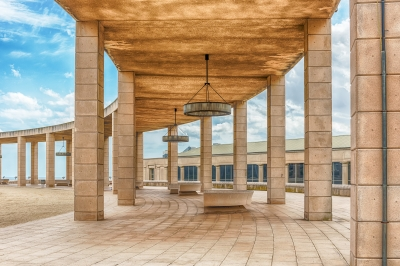 Architecture of the Olympic Park in Montjuic, Barcelona, Catalonia, Spain
