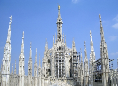 The Madonnina Statue on the roof of Milan Gothic Cathedral