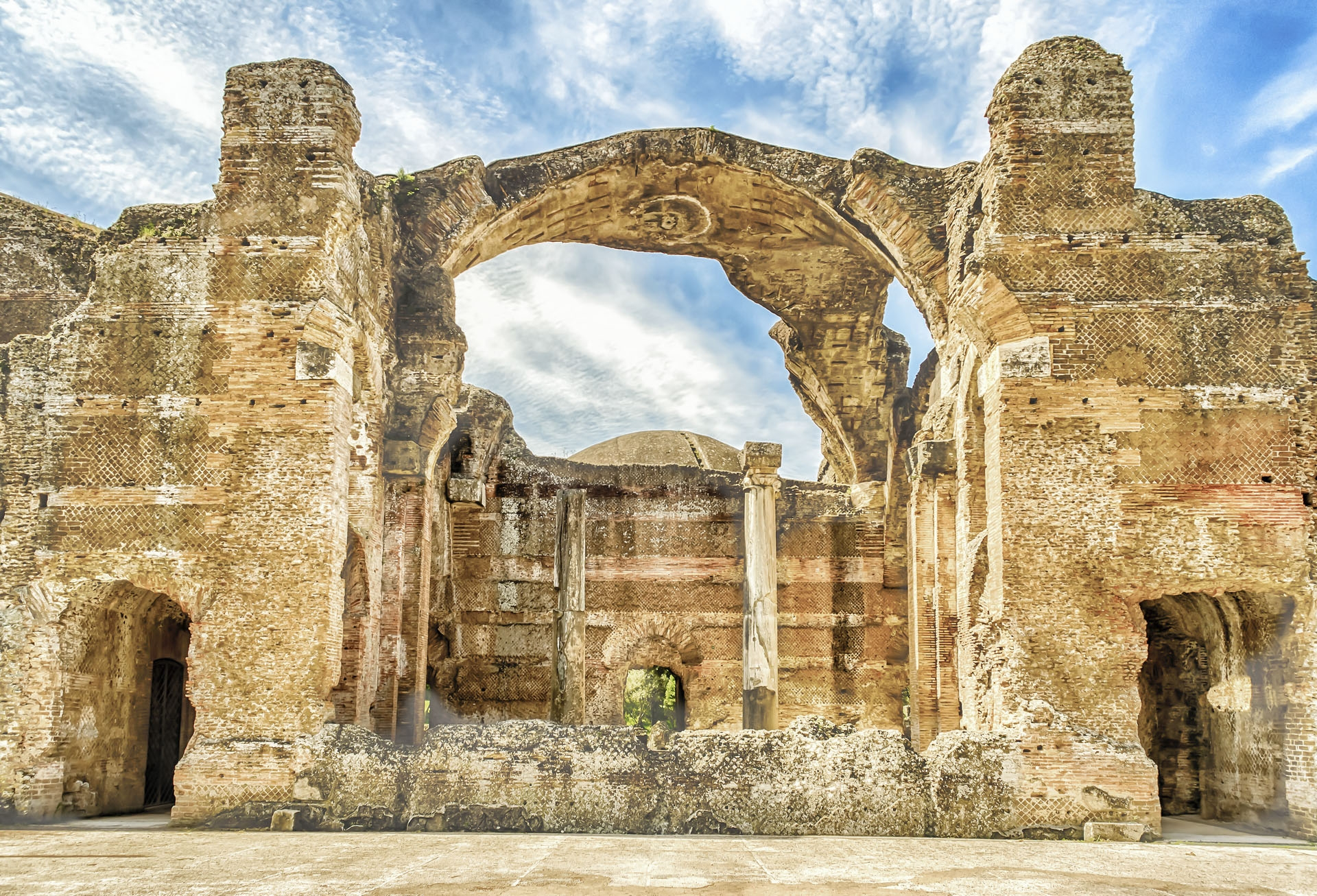 Ruins of the Great Baths in Villa Adriana, Tivoli, Italy