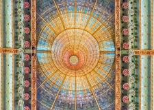 Stained-glass skylight, Palau de la Musica Catalana, Barcelona, Catalonia, Spain