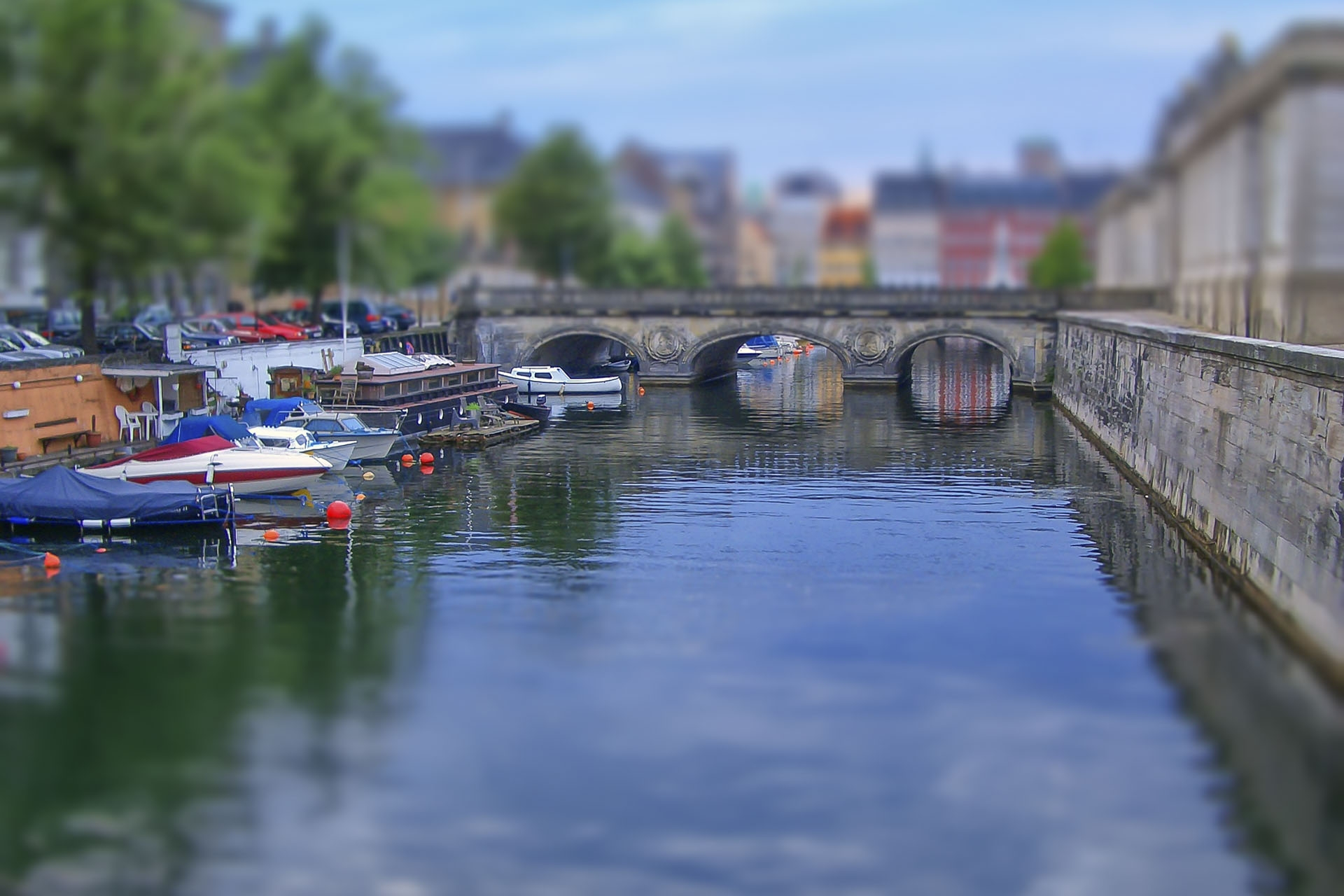 Cityscape of Copenhagen, Denmark. Tilt–shift effect applied