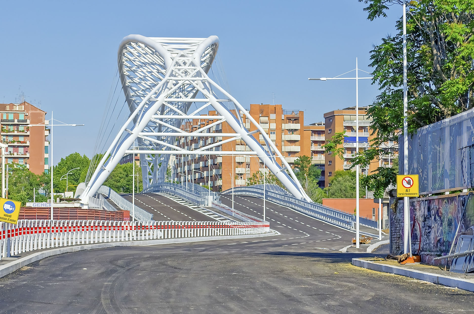 Garbatella Bridge, modern architecture in Rome, Italy