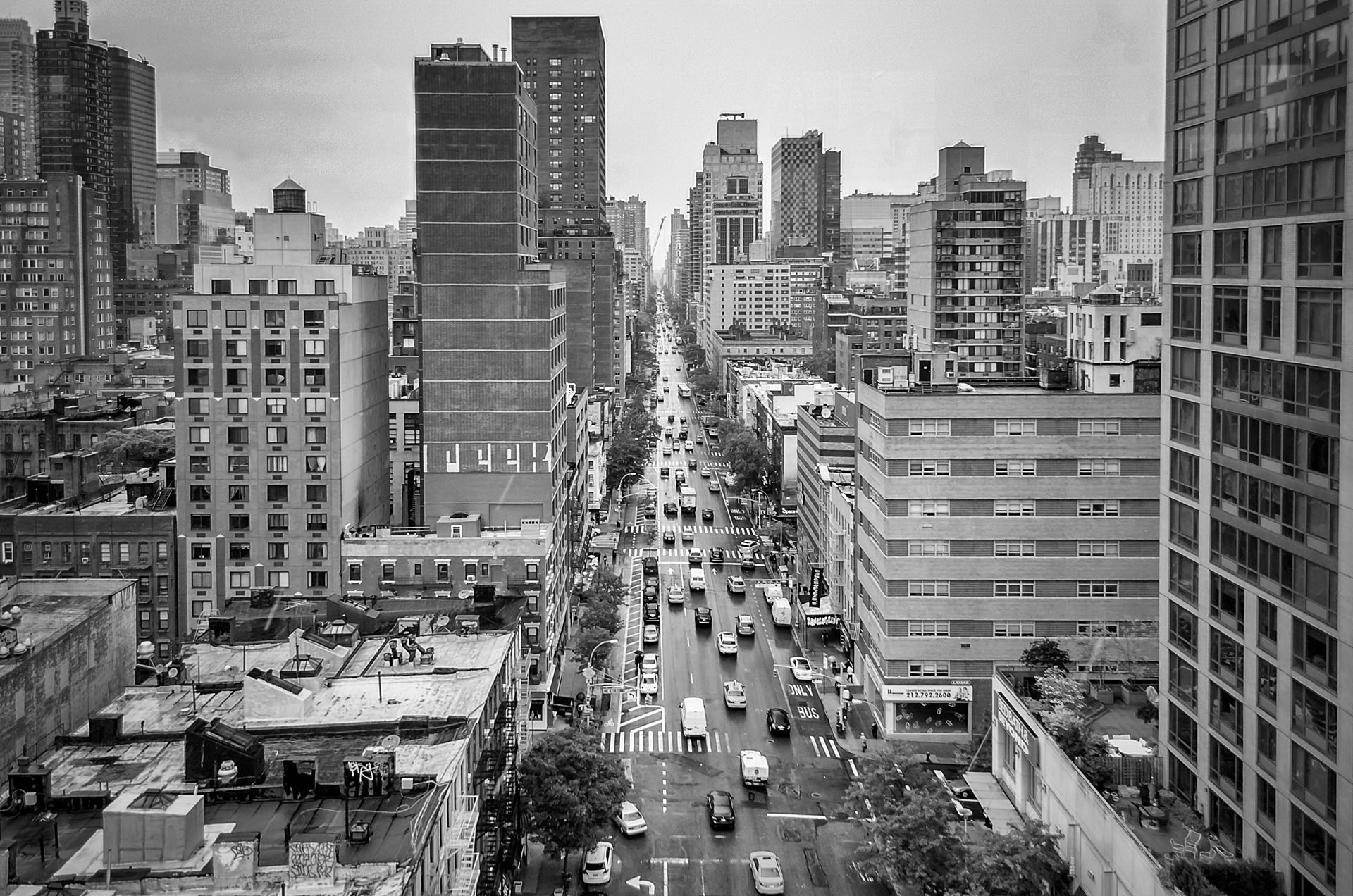 Aerial view of the 1st Avenue, New York City, USA