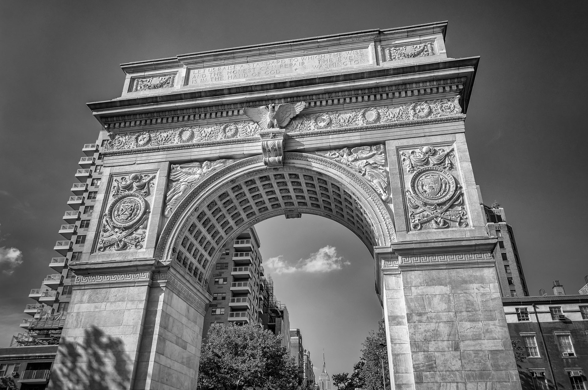 Washington Square Arch and Empire State Building, New York, USA
