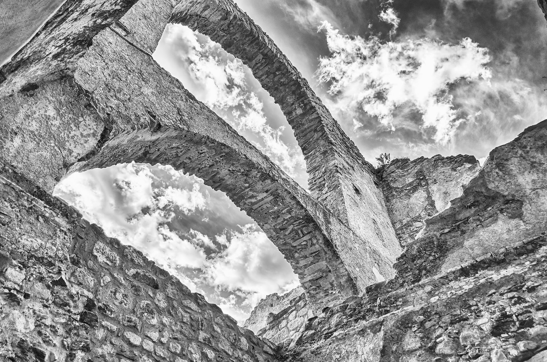 Ruins of an old castle in south of Italy