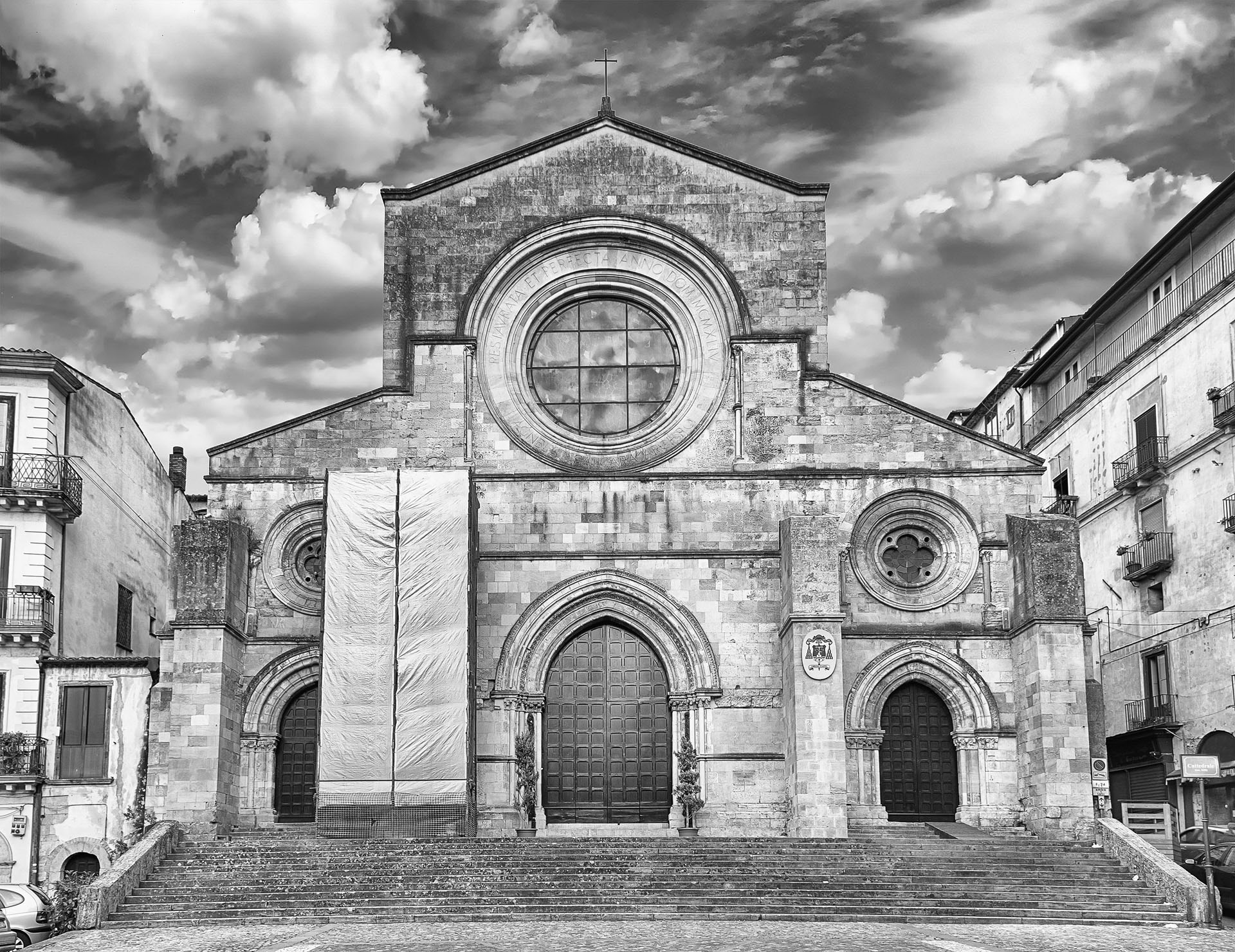 Scenic facade of the ancient Cosenza's Cathedral, Italy