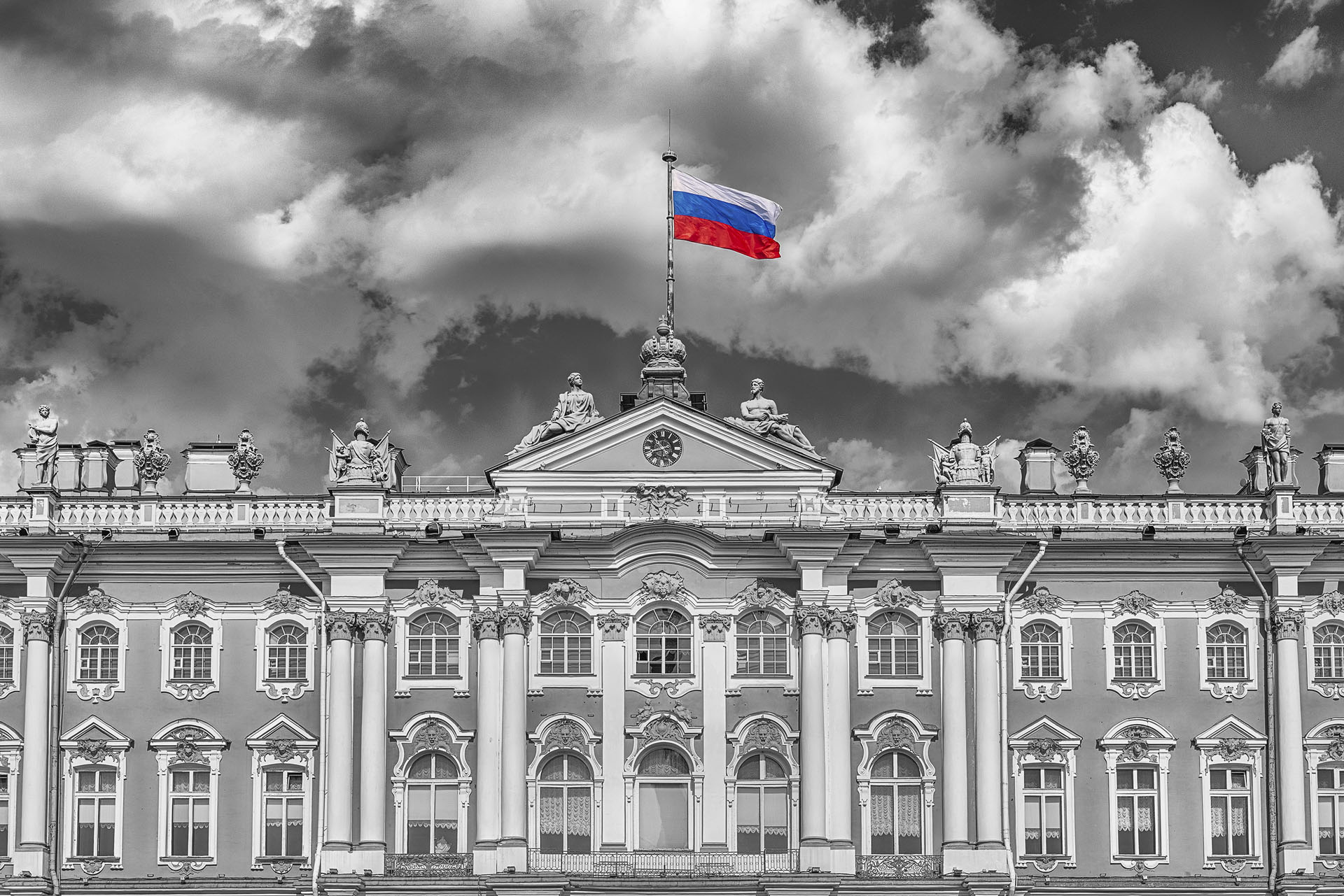 Facade of the Winter Palace, Hermitage Museum, St. Petersburg, Russia