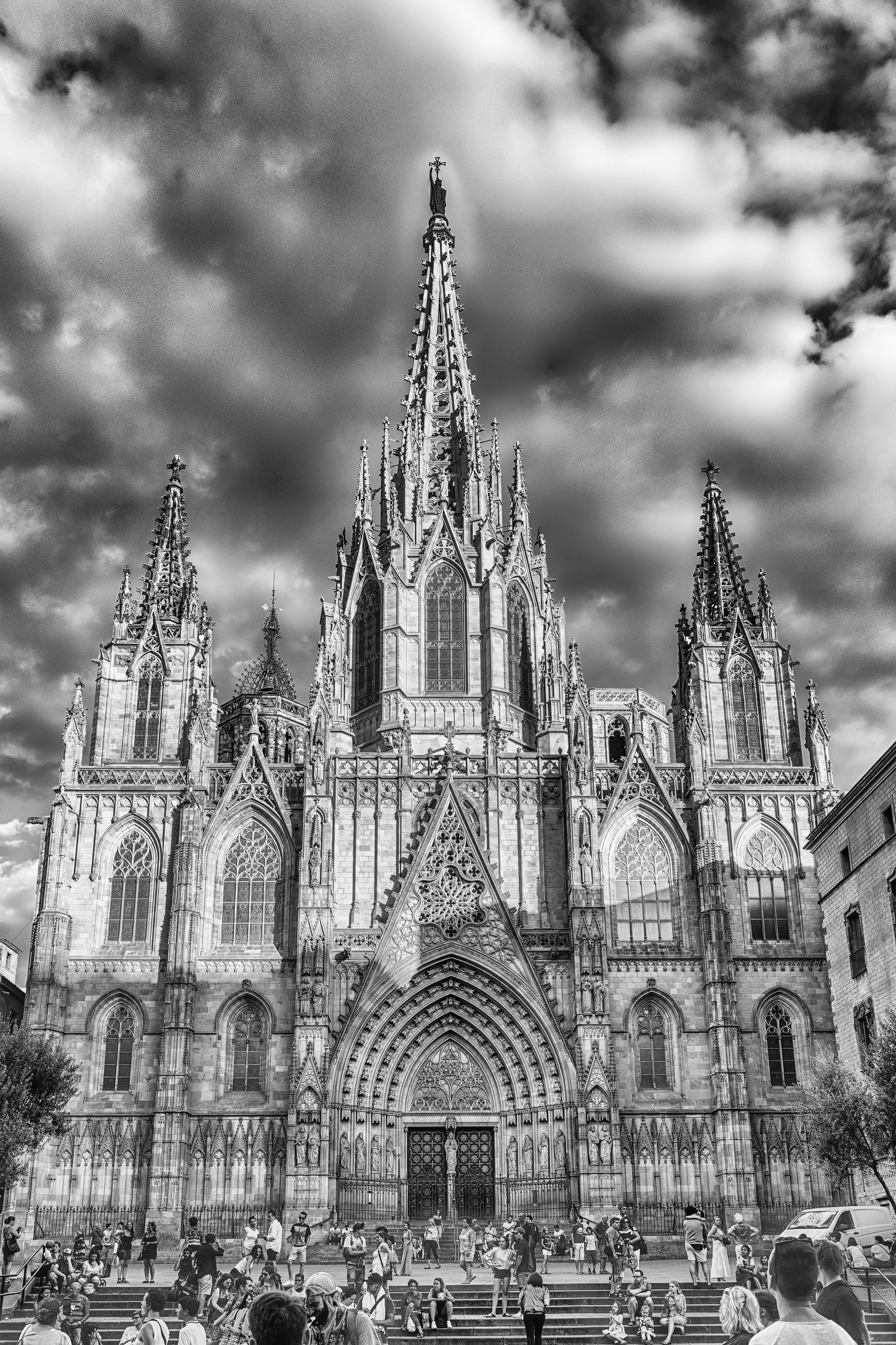 Scenic facade of the Barcelona Cathedral, Catalonia, Spain