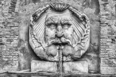 Fountain with mask, Rome, Italy