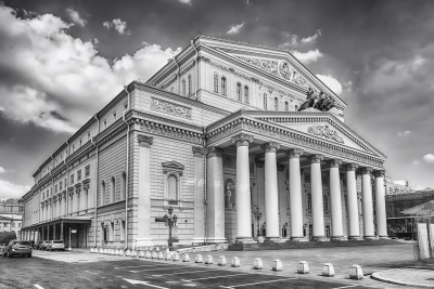 The iconic Bolshoi Theatre, sightseeing and landmark in Moscow, Russia