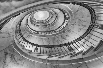 Bronze spiral staircase inside the Supreme Court, Washington DC, USA