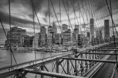 View of Manhattan Skyline from Brooklyn Bridge, New York, USA