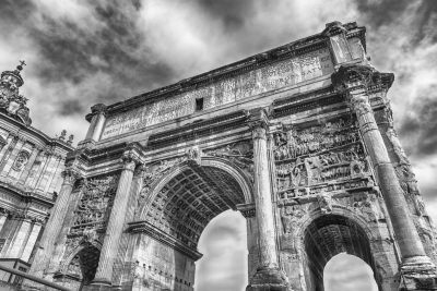 Triumphal Arch of Septimius Severus in the Roman Forum, Italy