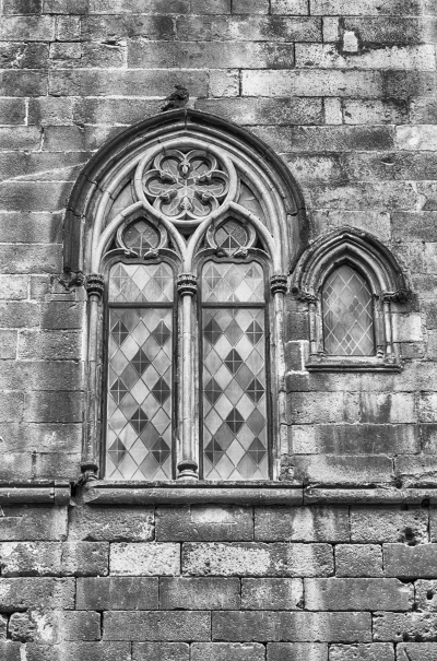Medieval window in Placa del Rei, Barcelona, Catalonia, Spain